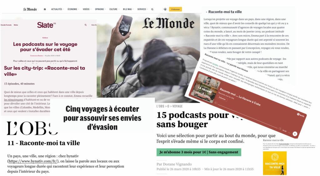 Press articles regarding Raconte-moi ta ville (Tell me about your city)